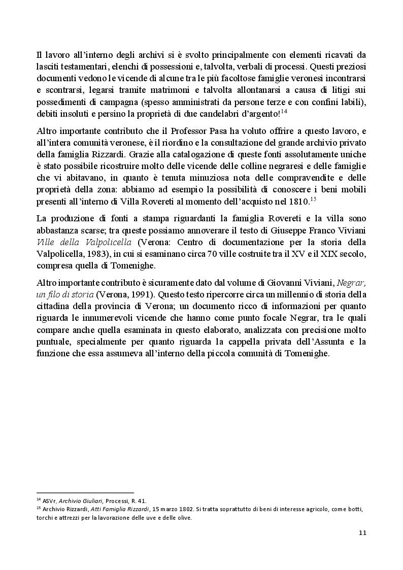 Anteprima della tesi: Villa Rovereti Rizzardi: Una villa veneta in Valpolicella vista attraverso la storia delle famiglie che la abitarono, Pagina 6