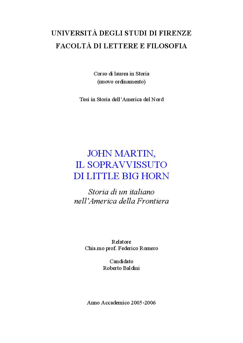 Anteprima della tesi: John Martin, il sopravvissuto di Little Big Horn: storia di un italiano nell'America di Custer, Pagina 1