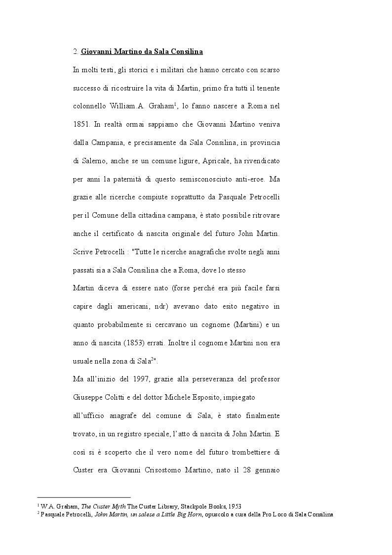 Anteprima della tesi: John Martin, il sopravvissuto di Little Big Horn: storia di un italiano nell'America di Custer, Pagina 4