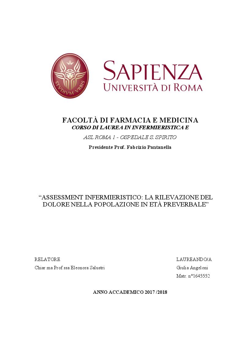 Anteprima della tesi: Assessment Infermieristico: La rilevazione del dolore nella popolazione in età preverbale, Pagina 1
