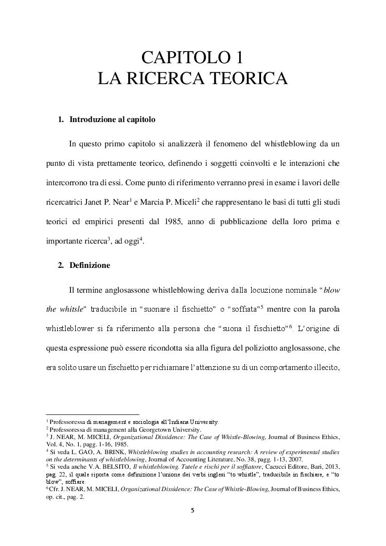 Anteprima della tesi: Il Whistleblowing in Italia: sistema normativo, diffusione e pratica aziendale, Pagina 4
