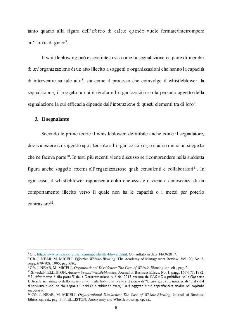 Anteprima della tesi: Il Whistleblowing in Italia: sistema normativo, diffusione e pratica aziendale, Pagina 5