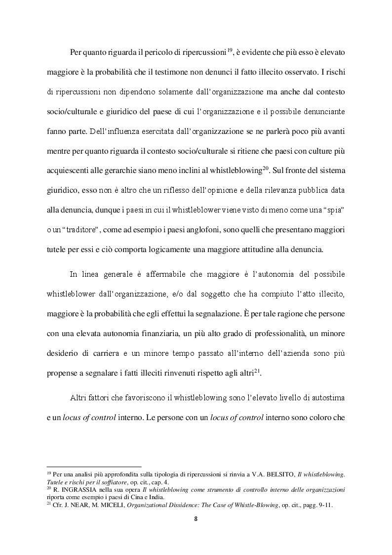 Anteprima della tesi: Il Whistleblowing in Italia: sistema normativo, diffusione e pratica aziendale, Pagina 7