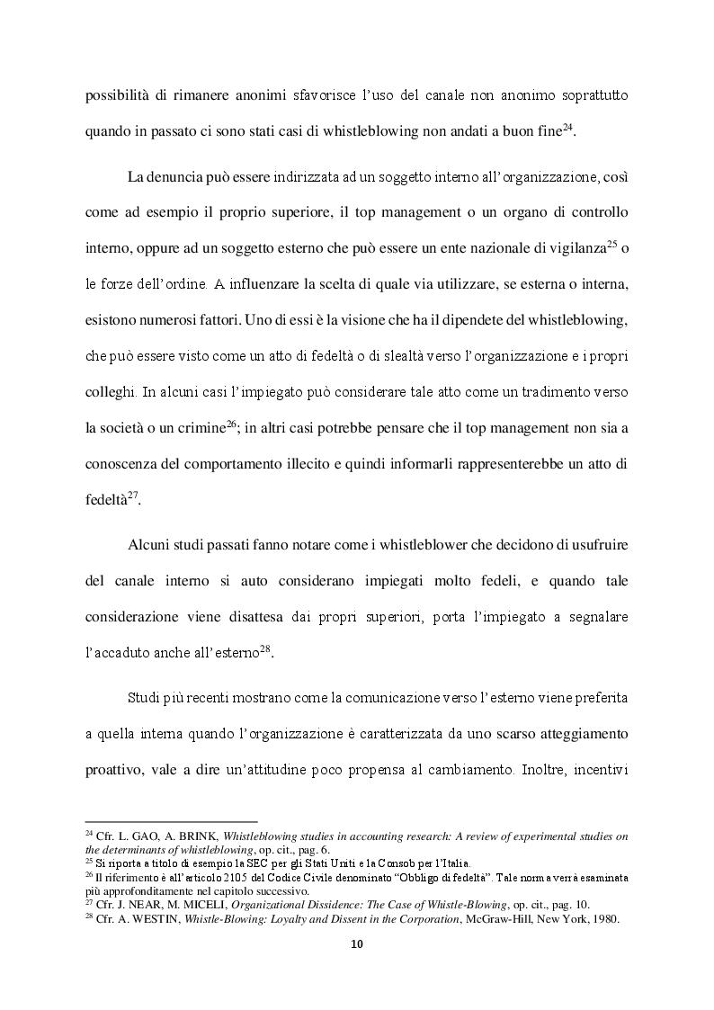 Anteprima della tesi: Il Whistleblowing in Italia: sistema normativo, diffusione e pratica aziendale, Pagina 9