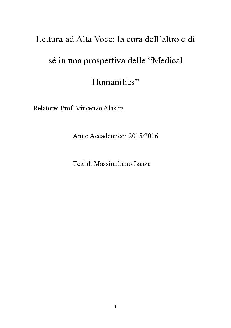 Anteprima della tesi: Lettura ad Alta voce: la cura degli altri e di sé alla luce delle Medical Humanities, Pagina 1