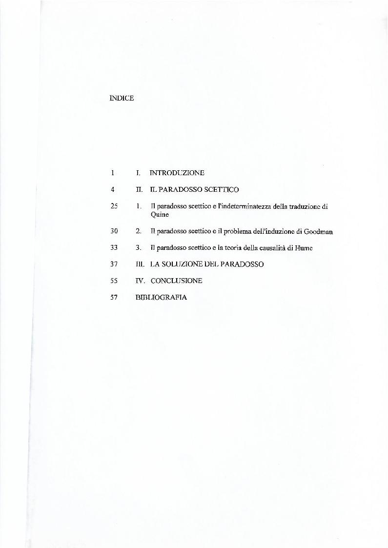 Indice della tesi: Il paradosso scettico di Wittgenstein - Kripke, Pagina 1