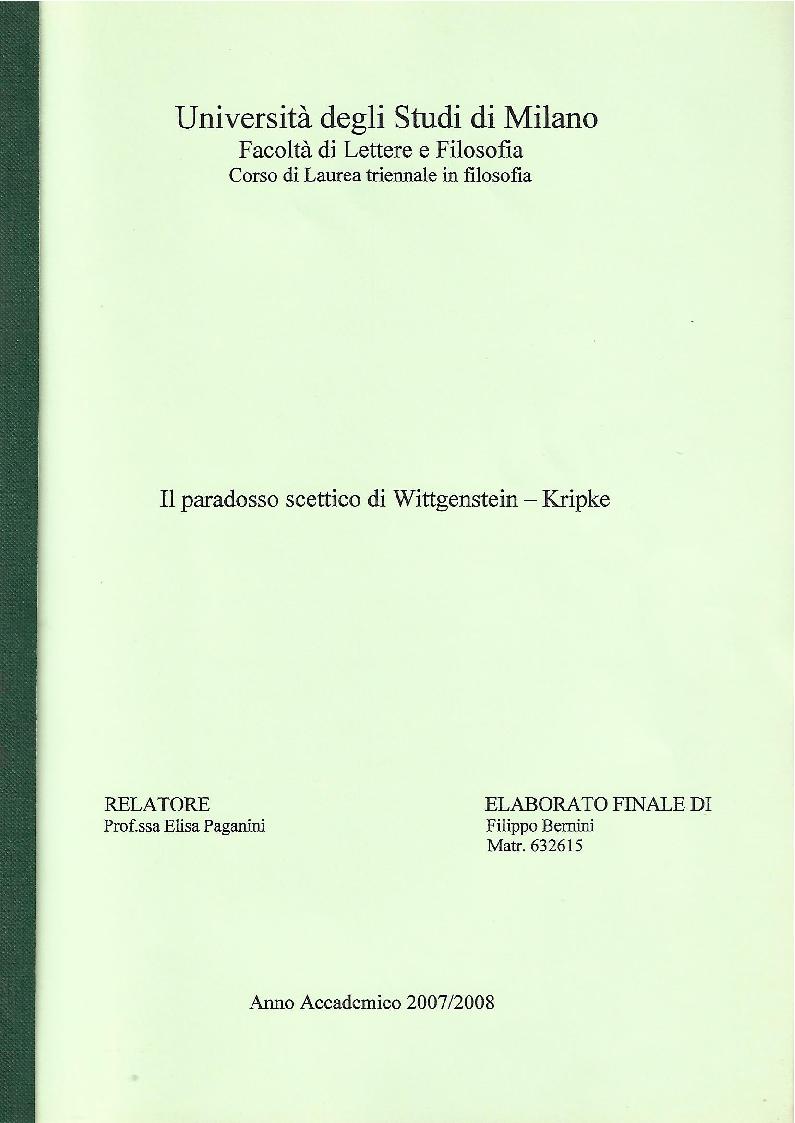Anteprima della tesi: Il paradosso scettico di Wittgenstein - Kripke, Pagina 1