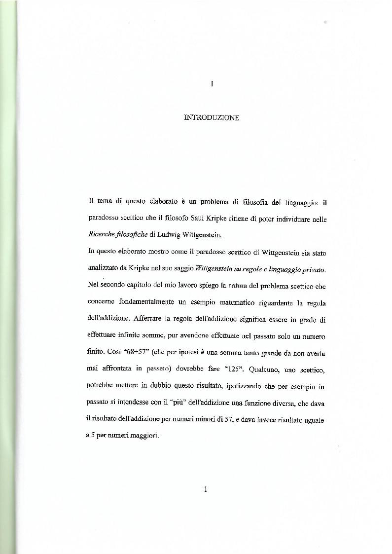 Anteprima della tesi: Il paradosso scettico di Wittgenstein - Kripke, Pagina 2