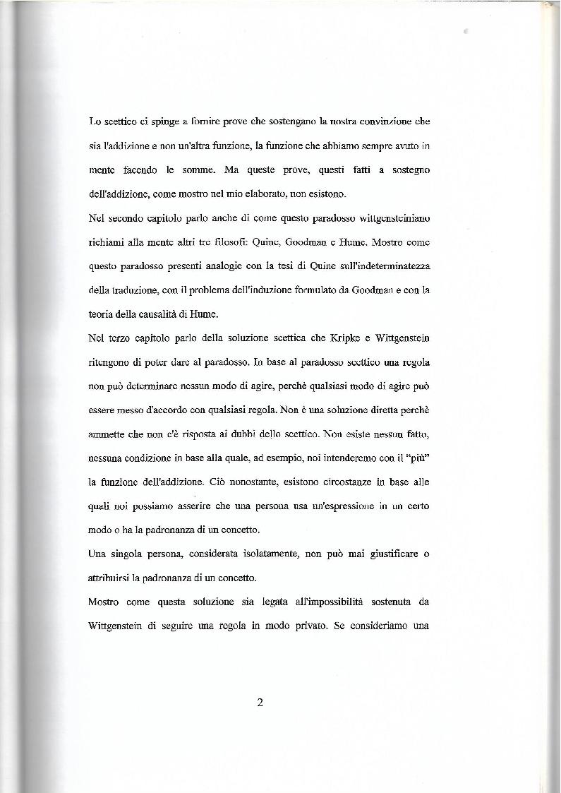Anteprima della tesi: Il paradosso scettico di Wittgenstein - Kripke, Pagina 3
