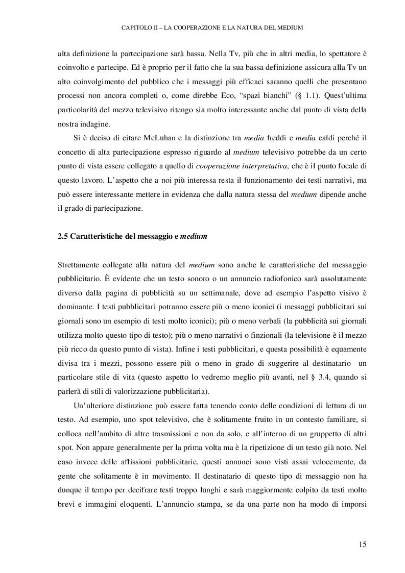 Anteprima della tesi: Testi pubblicitari: una cooperazione verso il consumo, Pagina 4