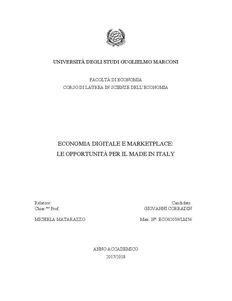 Anteprima della tesi: Economia digitale e marketplace: le opportunità per il Made in Italy, Pagina 1