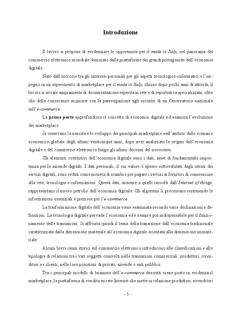 Anteprima della tesi: Economia digitale e marketplace: le opportunità per il Made in Italy, Pagina 2