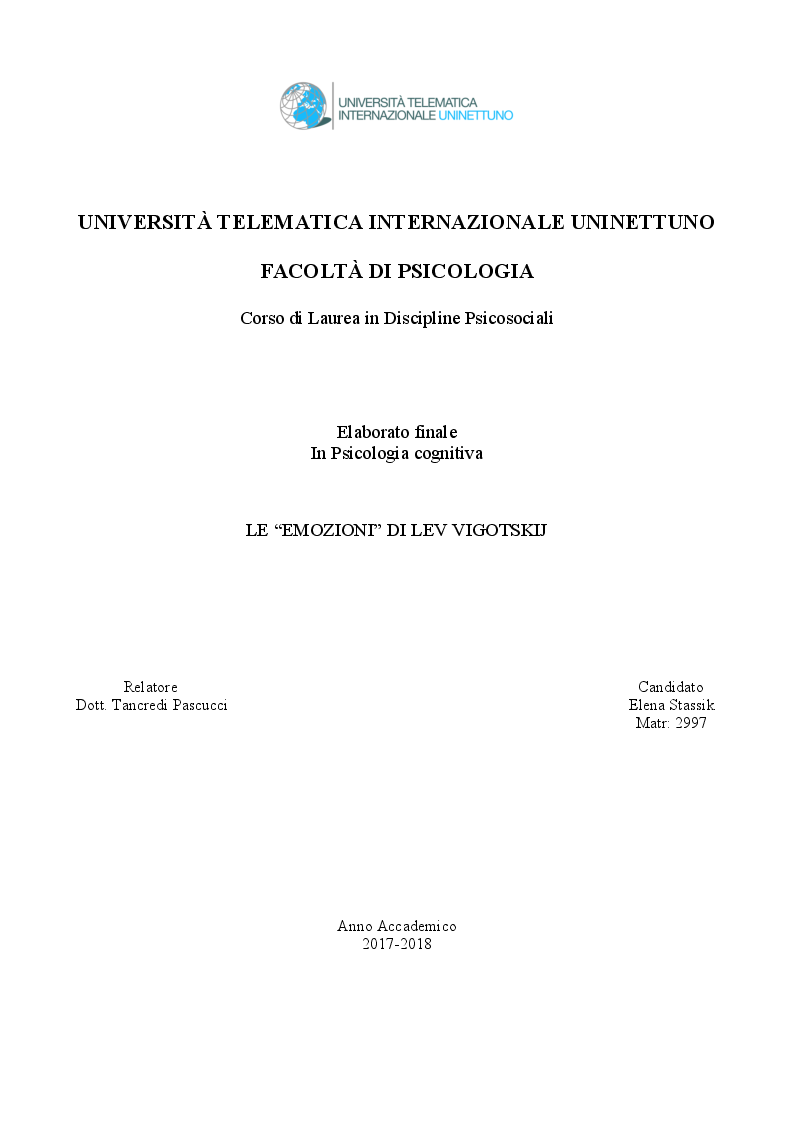 Anteprima della tesi: Le ''Emozioni'' di Lev Vigotskij, Pagina 1