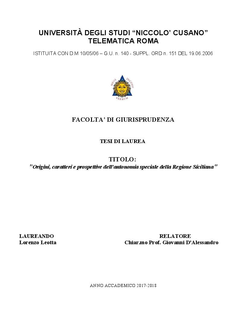Anteprima della tesi: Origini, caratteri e prospettive dell'autonomia speciale della Regione Siciliana, Pagina 1