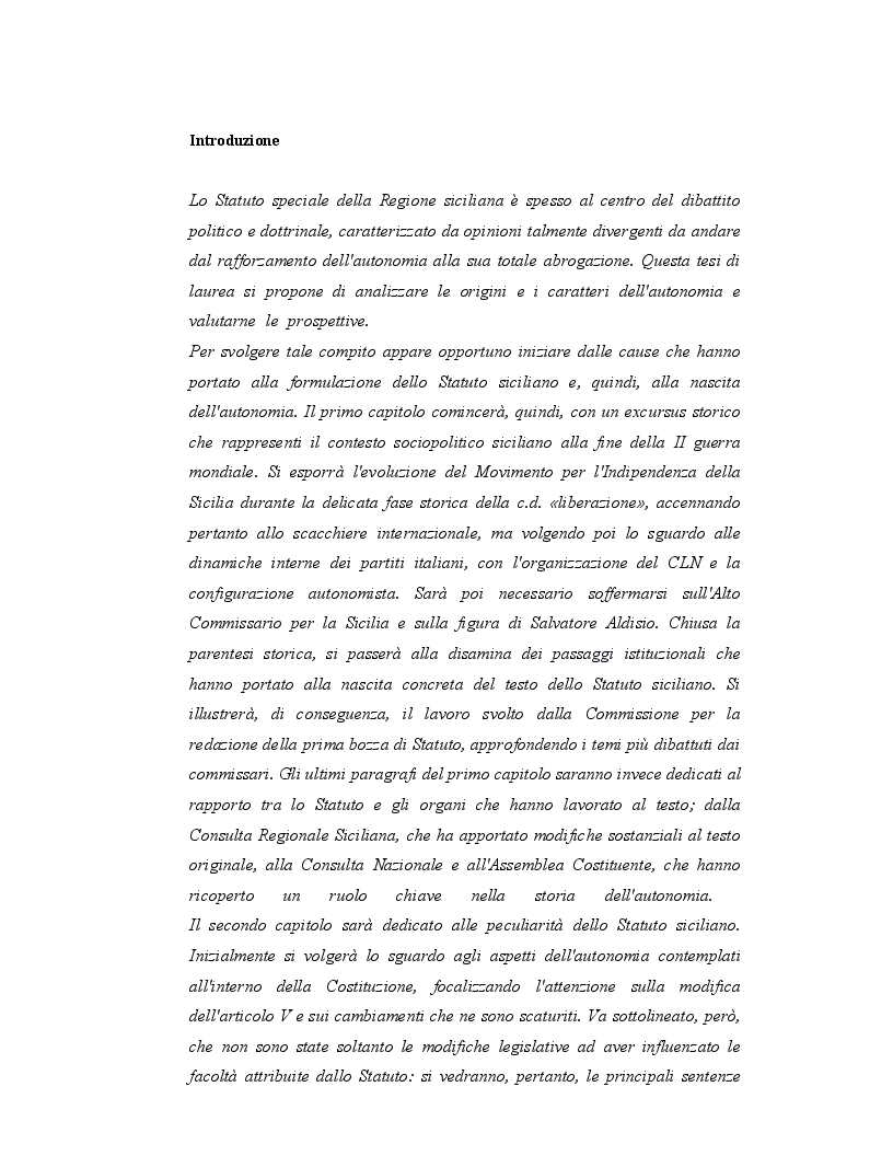 Anteprima della tesi: Origini, caratteri e prospettive dell'autonomia speciale della Regione Siciliana, Pagina 2