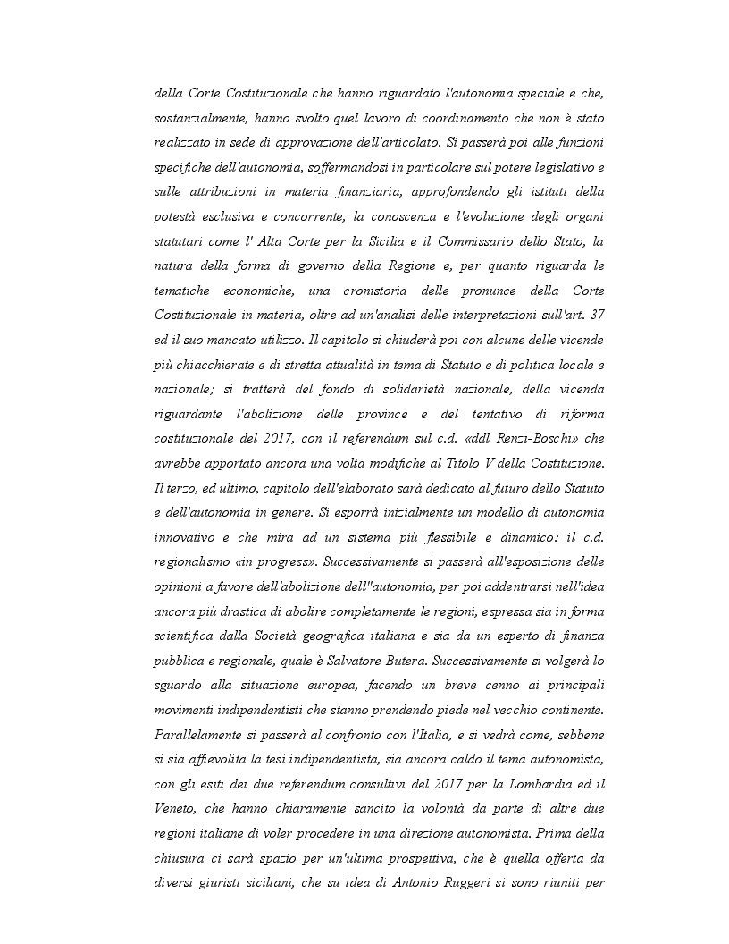 Anteprima della tesi: Origini, caratteri e prospettive dell'autonomia speciale della Regione Siciliana, Pagina 3