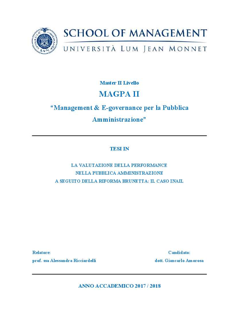 Anteprima della tesi: La valutazione della performance nella Pubblica Amministrazione a seguito della riforma Brunetta: il caso INAIL, Pagina 1