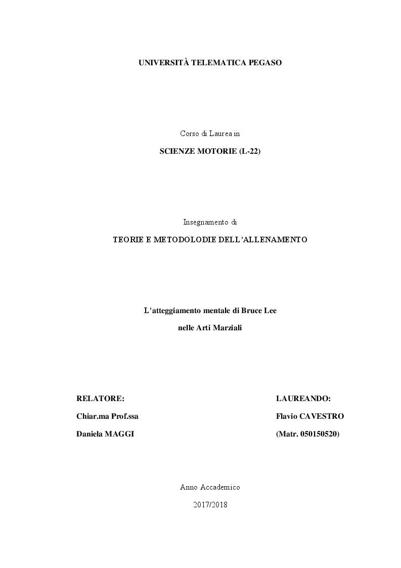 Anteprima della tesi: L'atteggiamento mentale di Bruce Lee nelle Arti Marziali, Pagina 1