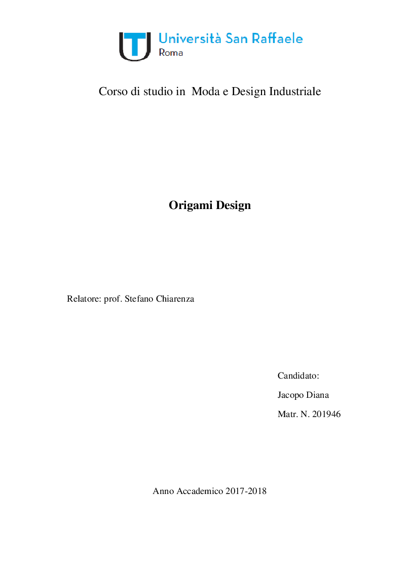 Anteprima della tesi: Origami Design, Pagina 1