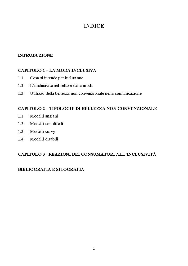 Indice della tesi: Inclusione e bellezza non convenzionale nella comunicazione di moda, Pagina 1