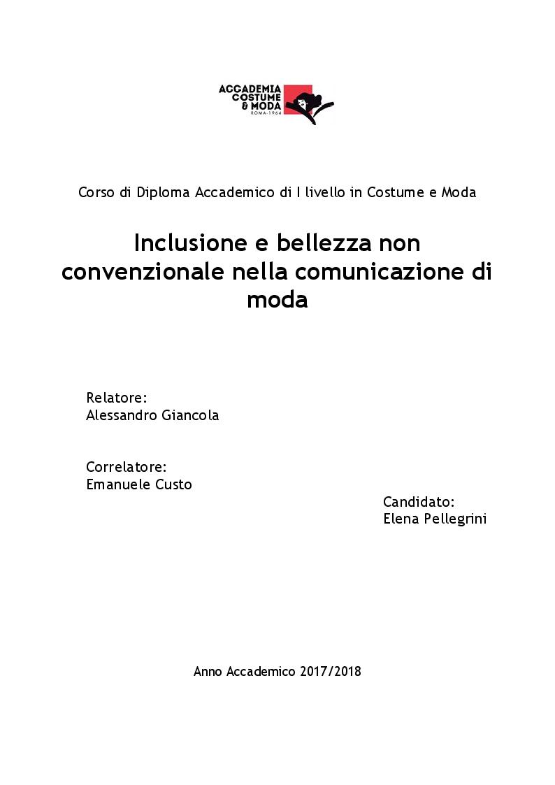 Anteprima della tesi: Inclusione e bellezza non convenzionale nella comunicazione di moda, Pagina 1