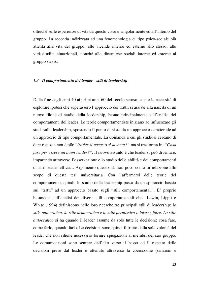 Estratto dalla tesi: Analisi della leadership nei Reparti Speciali della Polizia di Stato