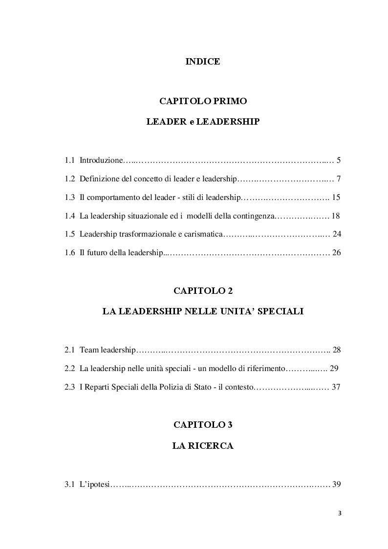 Indice della tesi: Analisi della leadership nei Reparti Speciali della Polizia di Stato, Pagina 1