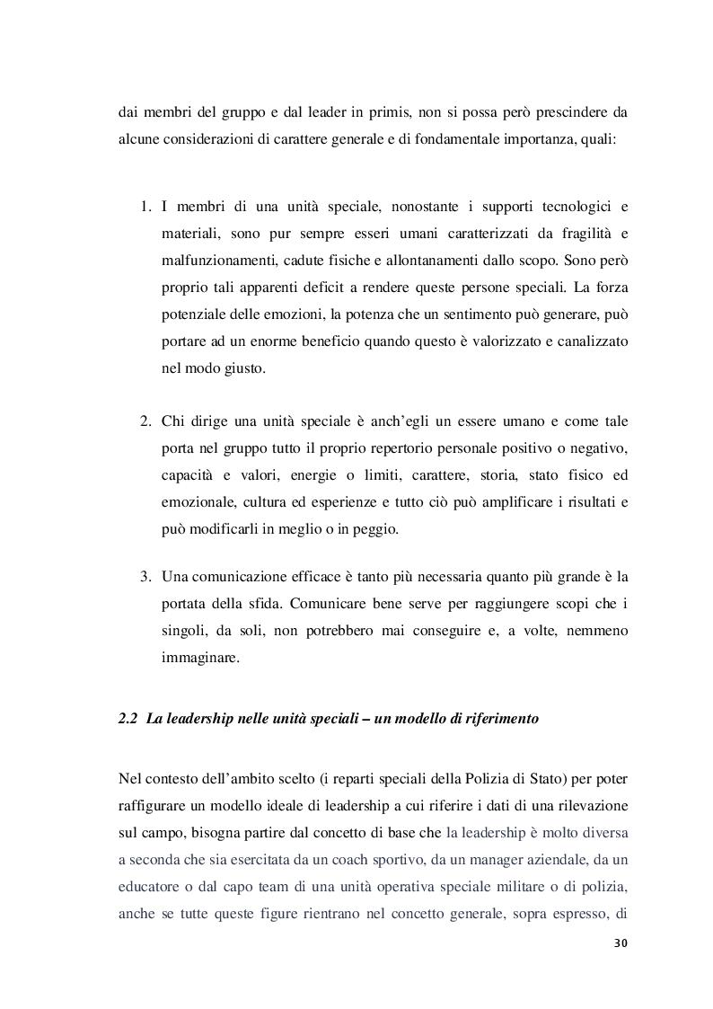 Anteprima della tesi: Analisi della leadership nei Reparti Speciali della Polizia di Stato, Pagina 3