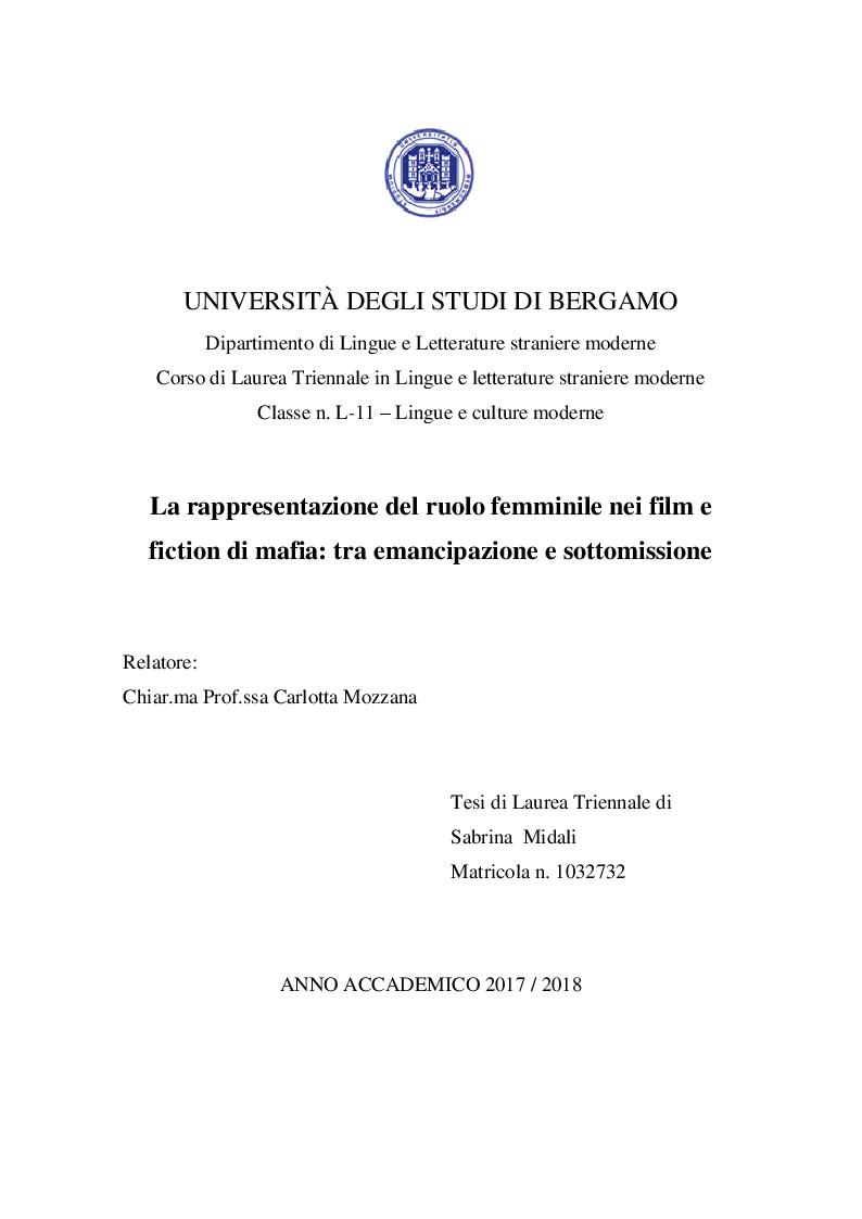 Anteprima della tesi: La rappresentazione del ruolo femminile nei film e fiction di mafia: tra emancipazione e sottomissione, Pagina 1