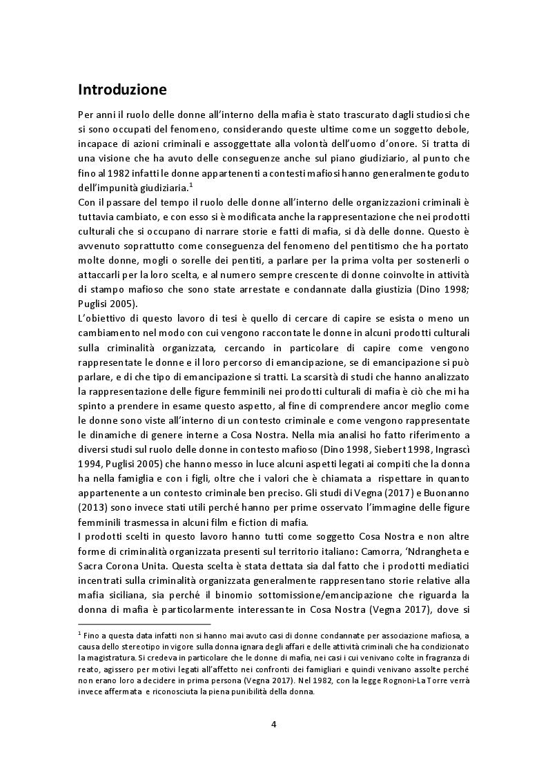 Anteprima della tesi: La rappresentazione del ruolo femminile nei film e fiction di mafia: tra emancipazione e sottomissione, Pagina 2