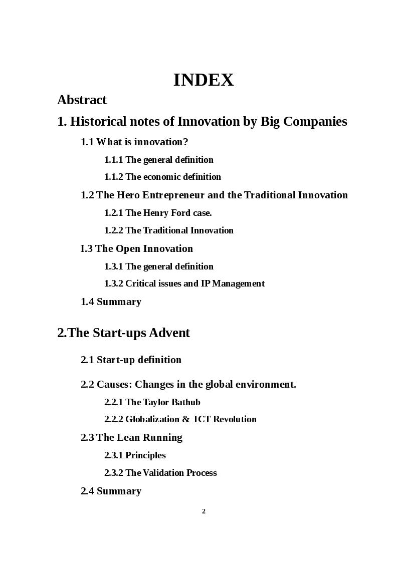 Indice della tesi: How Big Companies Make Innovation Acquiring Startups, Pagina 1