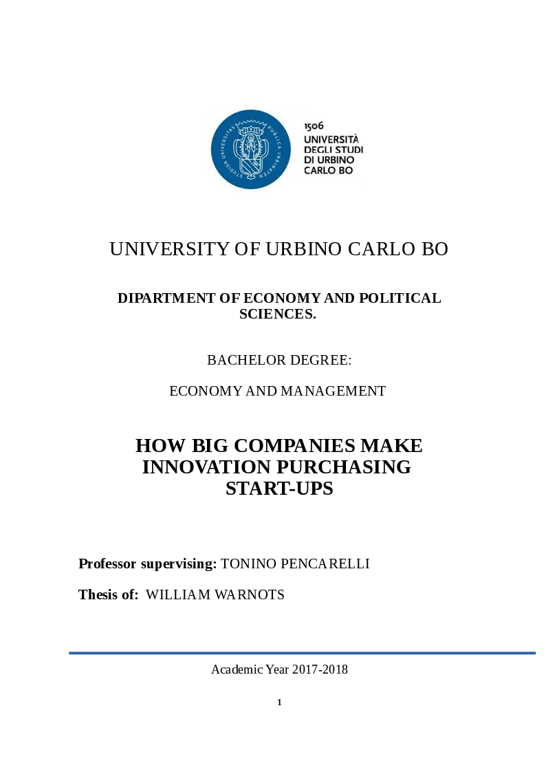 Anteprima della tesi: How Big Companies Make Innovation Acquiring Startups, Pagina 1