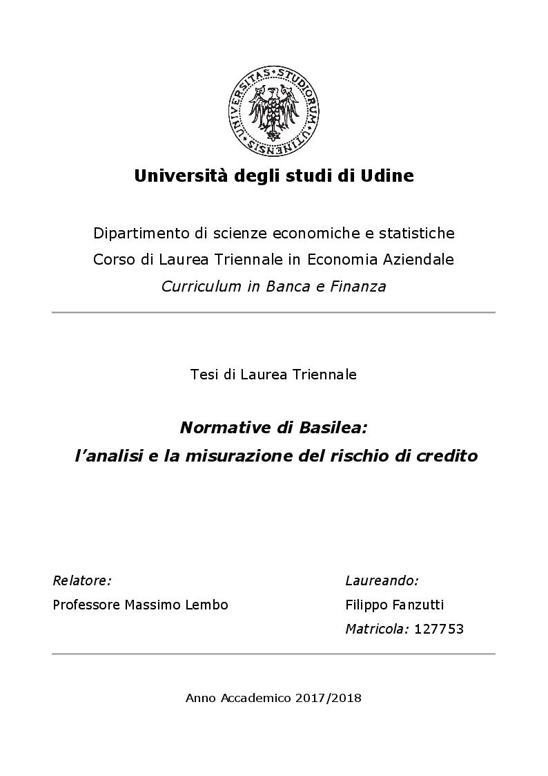 Anteprima della tesi: Normative di Basilea: l'analisi e la misurazione del rischio di credito, Pagina 1