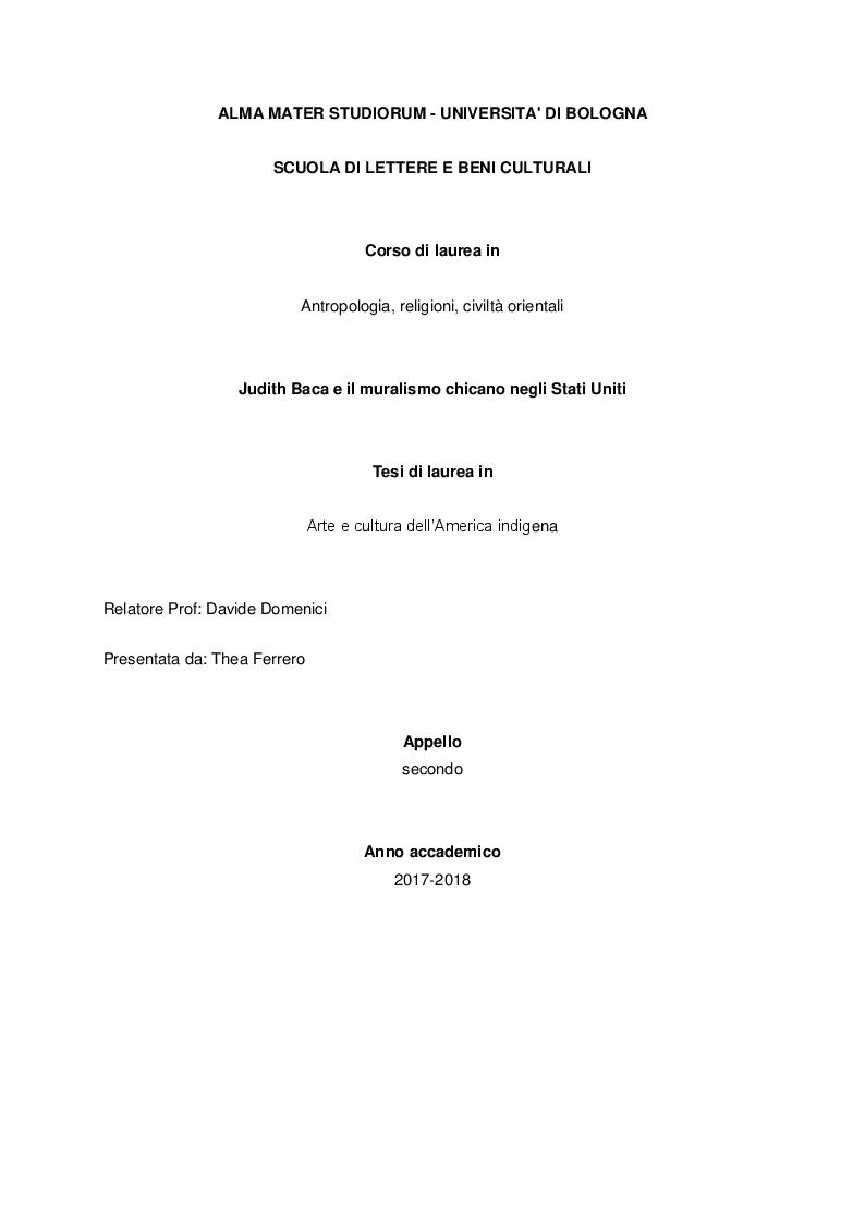 Anteprima della tesi: Judith Baca e il muralismo chicano negli Stati Uniti, Pagina 1