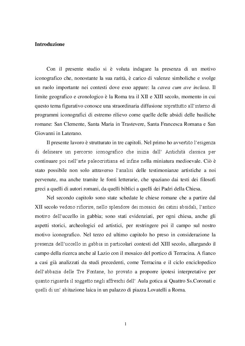 Anteprima della tesi: Il tema iconografico della ''Cavea cum ave inclusa'' a Roma e nel Lazio tra XII e XIII secolo, Pagina 2