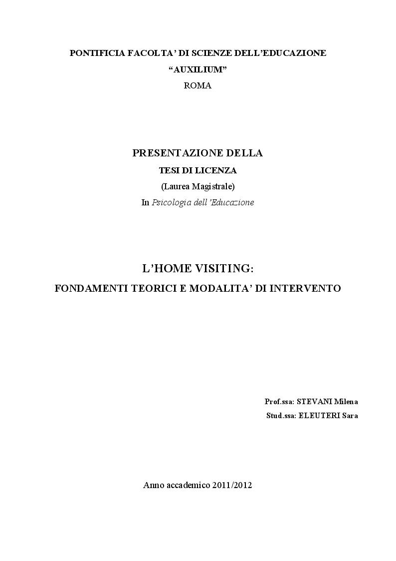 Anteprima della tesi: L'Home Visiting: fondamenti teorici e modelli di intervento, Pagina 1