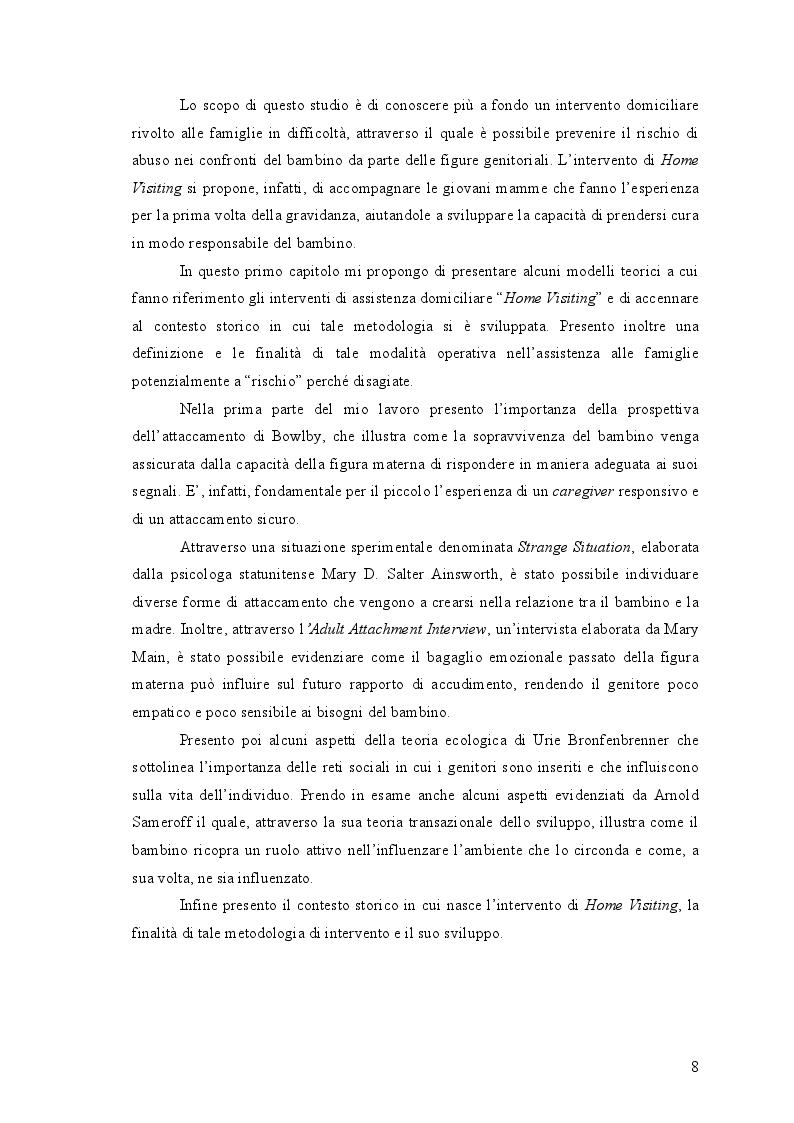 Anteprima della tesi: L'Home Visiting: fondamenti teorici e modelli di intervento, Pagina 6