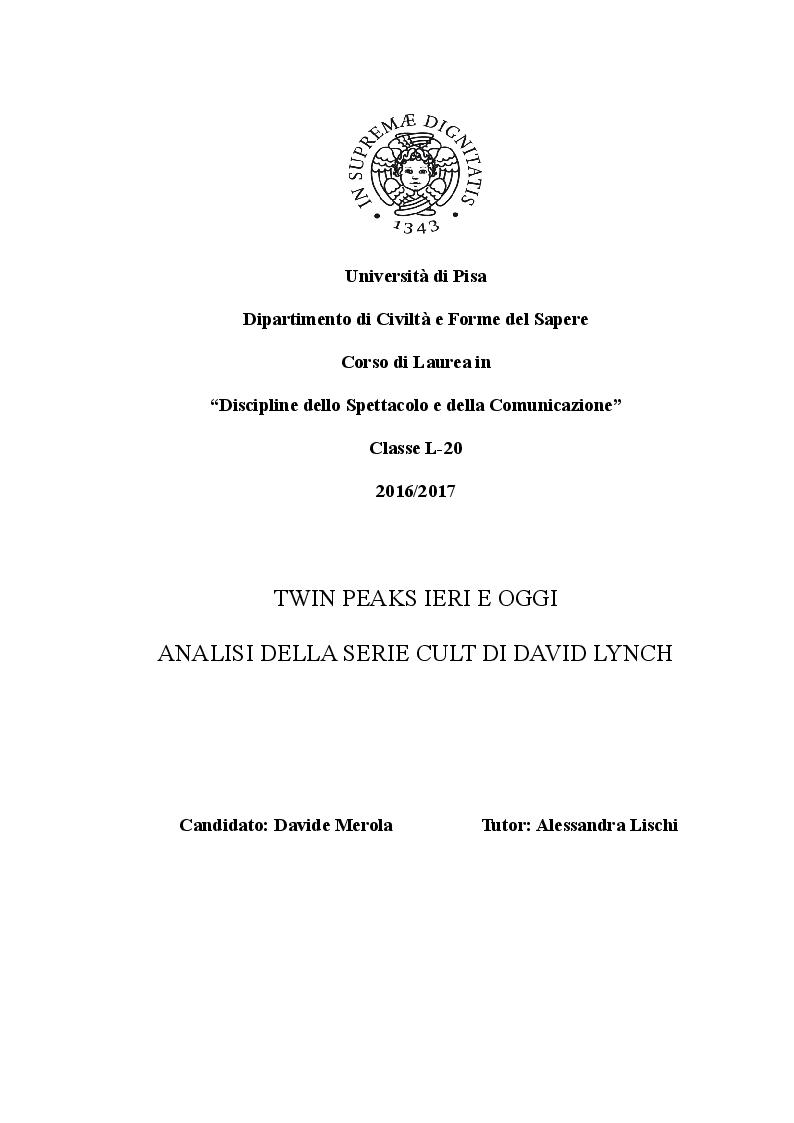 Anteprima della tesi: Twin Peaks ieri e oggi: analisi della serie cult di David Lynch, Pagina 1