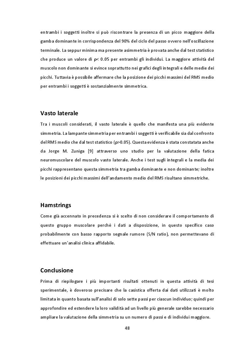 Estratto dalla tesi: La simmetria nel cammino valutata con il segnale elettromiografico
