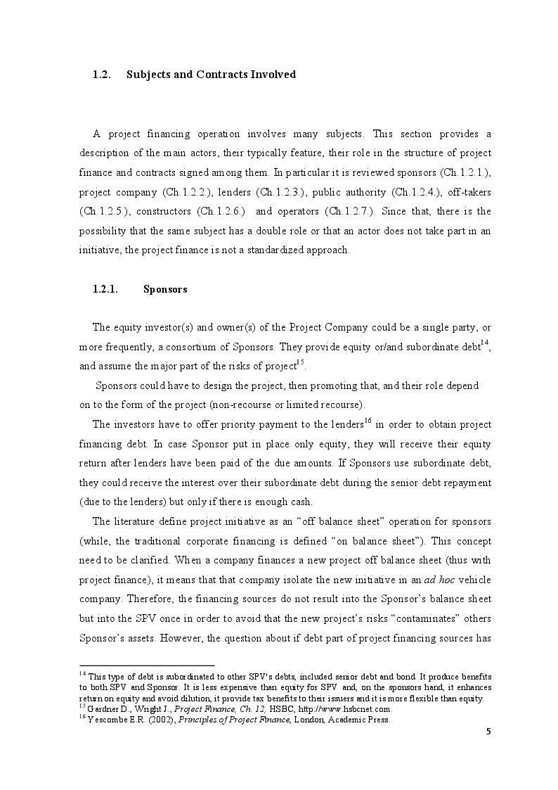 Estratto dalla tesi: Project Finance in Emerging Markets: a Case Study