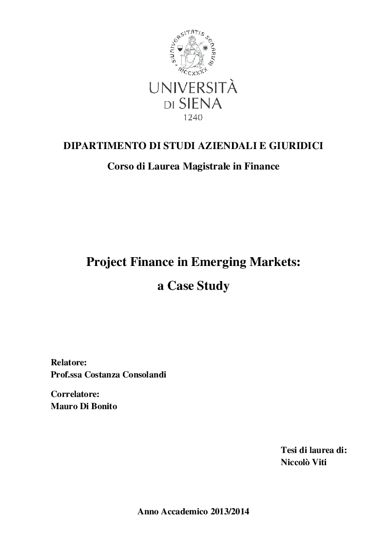 Anteprima della tesi: Project Finance in Emerging Markets: a Case Study, Pagina 1