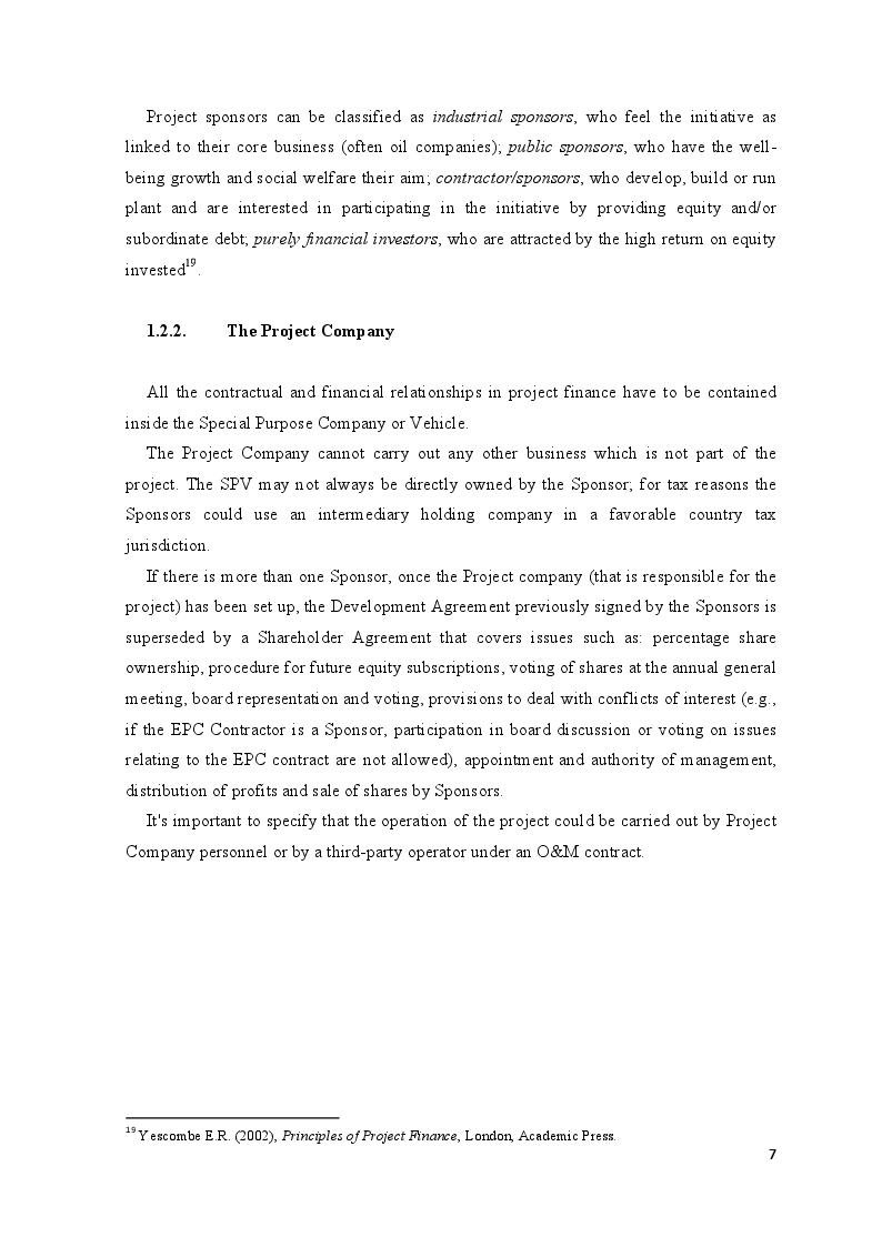Anteprima della tesi: Project Finance in Emerging Markets: a Case Study, Pagina 8