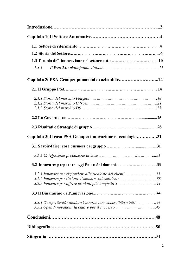 Indice della tesi: PSA GROUPE, Innovazione e Tecnologia nel Settore Automobilistico, Pagina 1