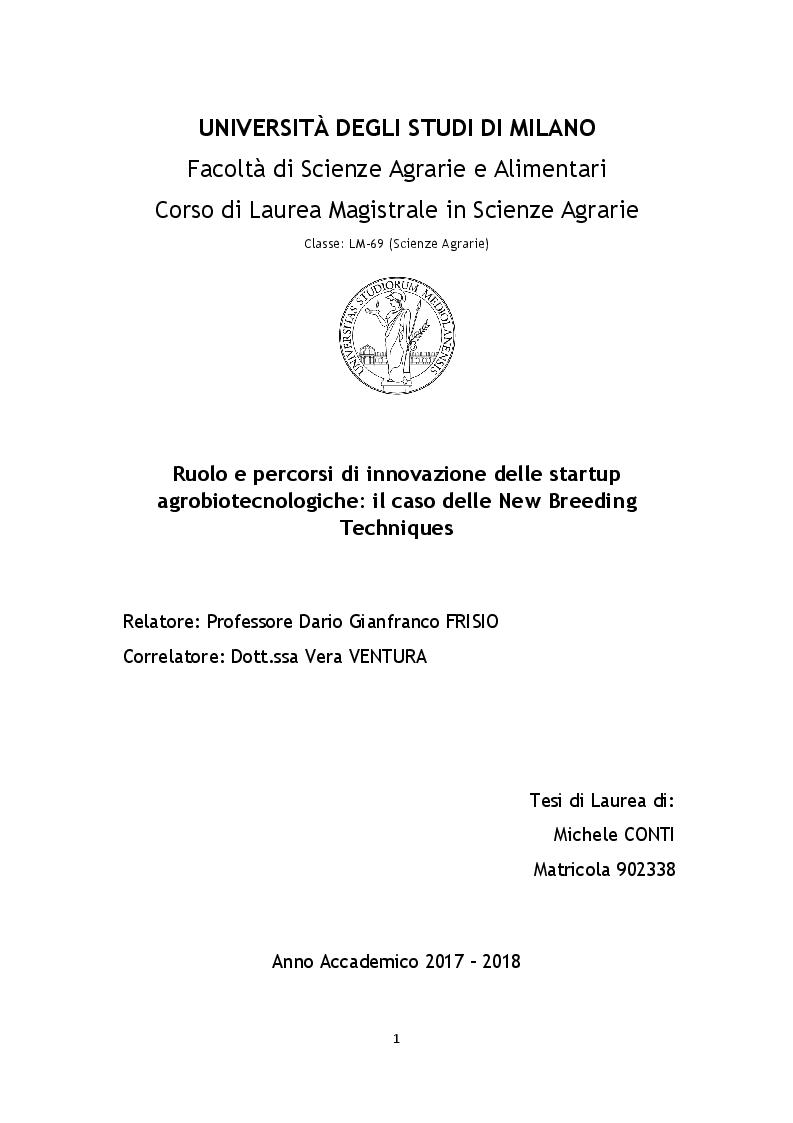 Anteprima della tesi: Ruolo e percorsi di innovazione delle startup agrobiotecnologiche: il caso delle New Breeding Techniques, Pagina 1