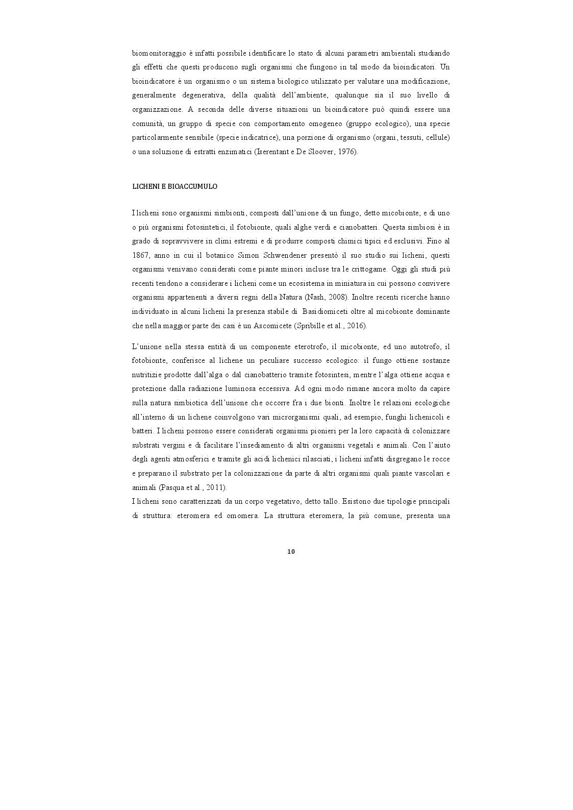 Estratto dalla tesi: Analisi di campioni di licheni prelevati nel Parco Nazionale della Majella per la definizione di una baseline di elementi inorganici
