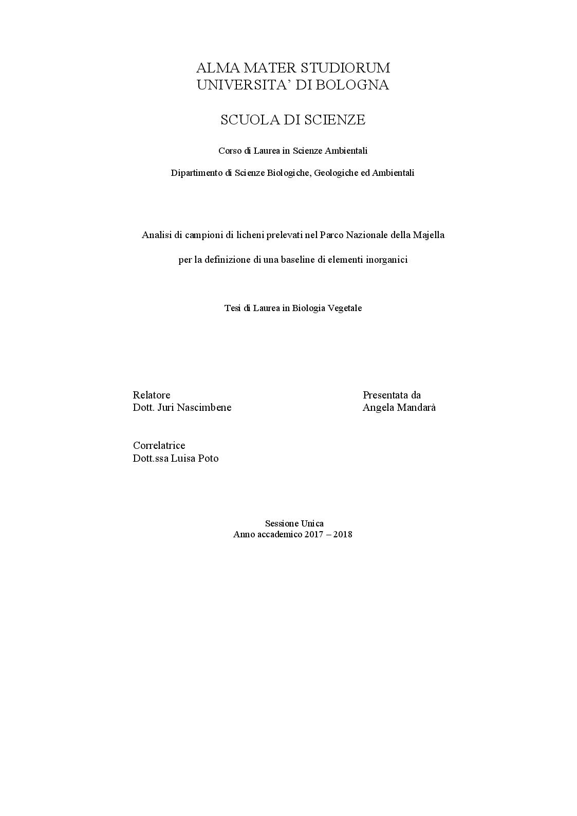 Anteprima della tesi: Analisi di campioni di licheni prelevati nel Parco Nazionale della Majella per la definizione di una baseline di elementi inorganici, Pagina 1