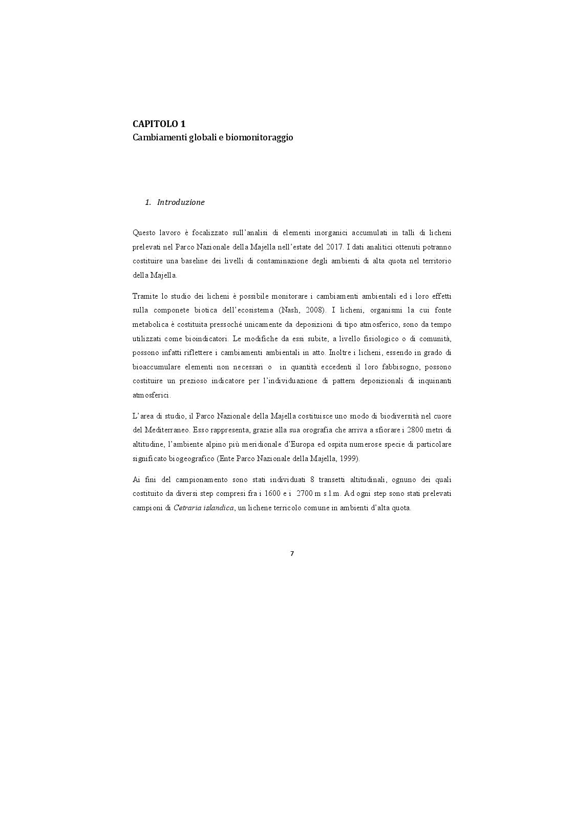 Anteprima della tesi: Analisi di campioni di licheni prelevati nel Parco Nazionale della Majella per la definizione di una baseline di elementi inorganici, Pagina 2