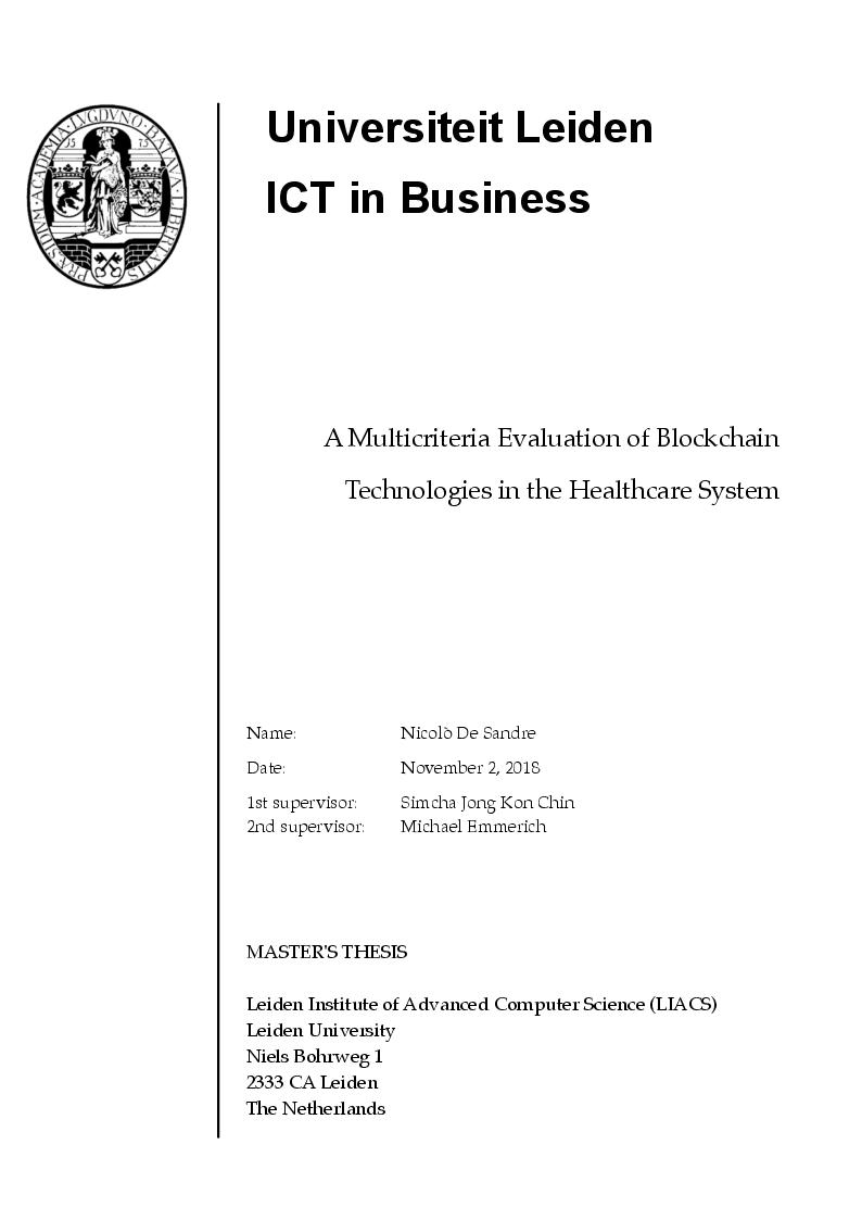 Anteprima della tesi: A multicriteria Evaluation of Blockchain Technologies applied to the Healthcare System, Pagina 1