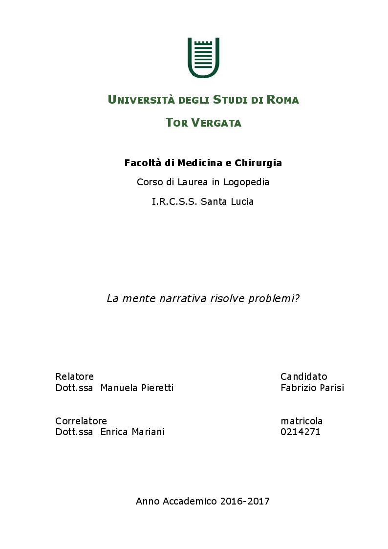 Anteprima della tesi: La mente narrativa risolve problemi?, Pagina 1