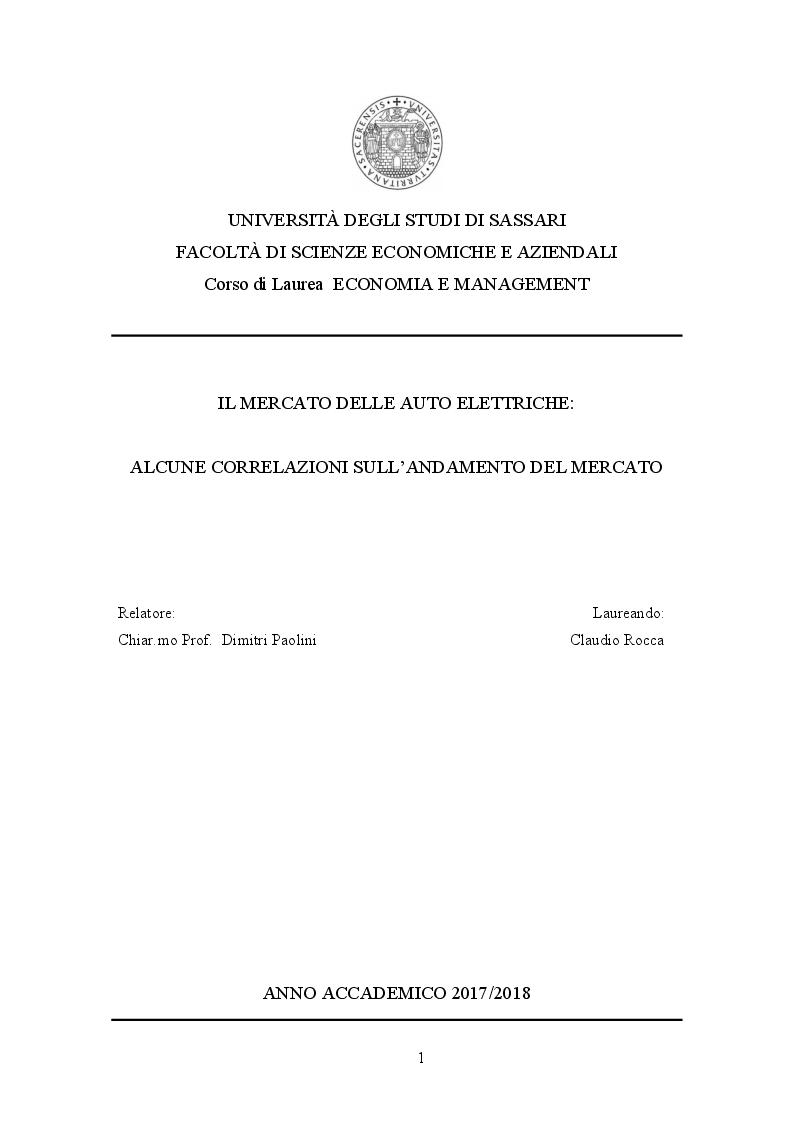 Anteprima della tesi: Il mercato delle auto elettriche: alcune correlazioni sull'andamento del mercato, Pagina 1